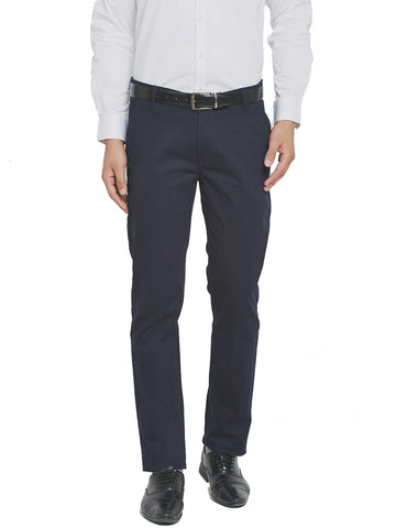 Hancock Mid Night Navy Blue Self Design Solid Stretchable Mid-Rise Slim Fit Chinos