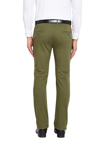 Hancock Olive Blue Self Design Solid Stretchable Mid-Rise Slim Fit Chinos