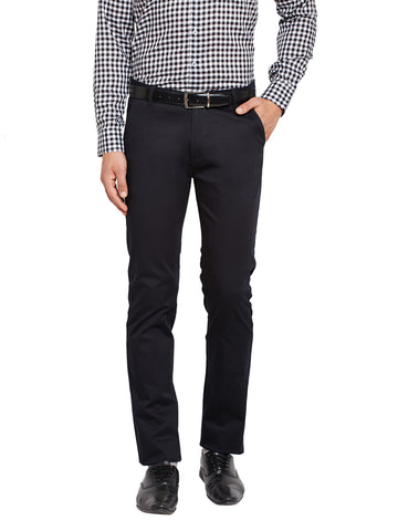 Hancock Black Self Design Solid Stretchable Mid-Rise Slim Fit Chinos