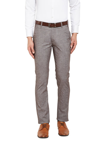 Hancock Brown Self Design Solid Stretchable Mid-Rise Slim Fit Chinos
