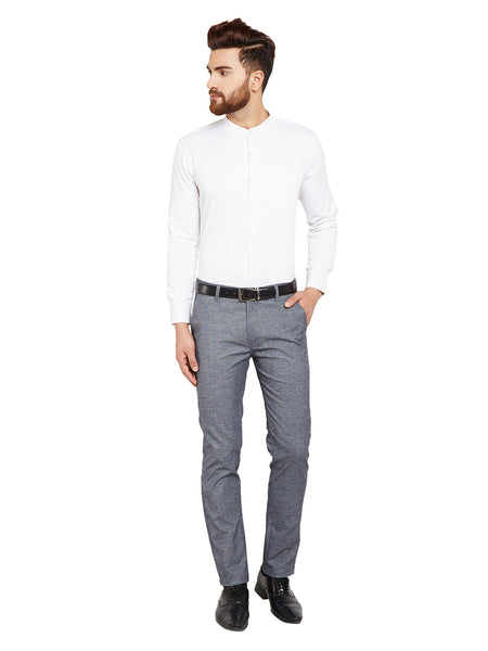 Hancock Navy Blue Self Design Solid Stretchable Mid-Rise Slim Fit Chinos