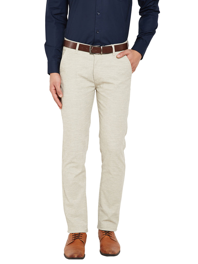 2756a902d Hancock Being Self Design Solid Stretchable Mid-Rise Slim Fit Chinos-2