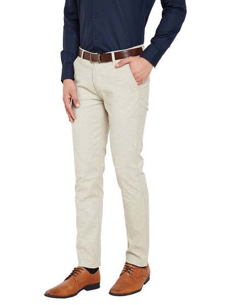 Hancock Being Self Design Solid Stretchable Mid-Rise Slim Fit Chinos-2122beige