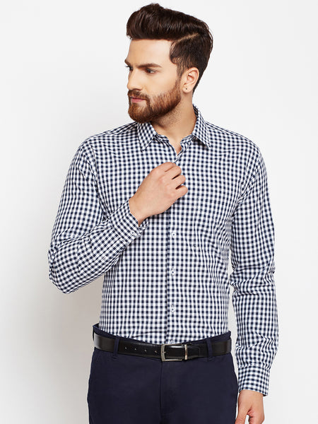 Hancock Navy Blue Checks Slim Fit Pure Cotton Formal Shirt