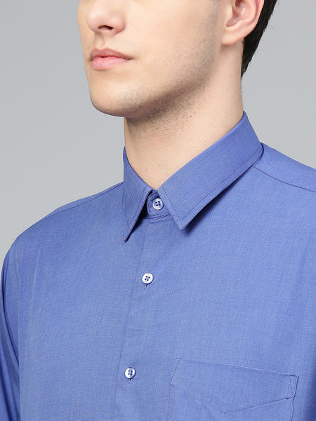 Hancock Men Blue Pure Cotton Solid Slim Fit Formal Shirt