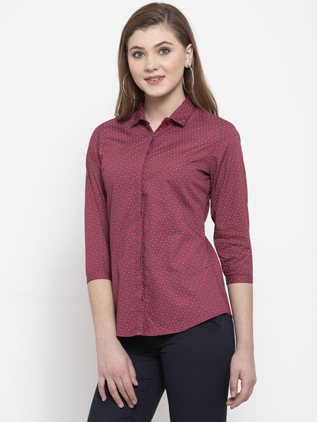 Hancock Women Red Pure Cotton Printed Slim Fit Formal Shirt