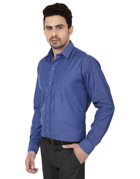 Hancock Imperial Blue Slim Fit Solid Chambray Cotton Rich Formal Shirt