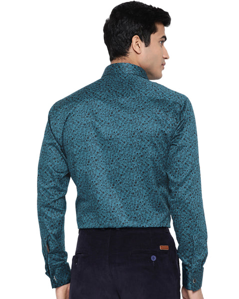 Hancock Men Turquoise Cotton Printed Slim Fit Formal Shirt