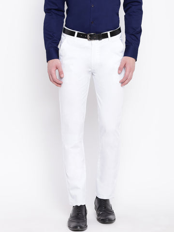 Hancock Men White Cotton Solid Slim Fit Casual Trouser