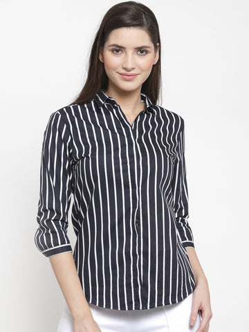 Hancock Women Navy Pure Cotton Striped Slim Fit Formal Shirt