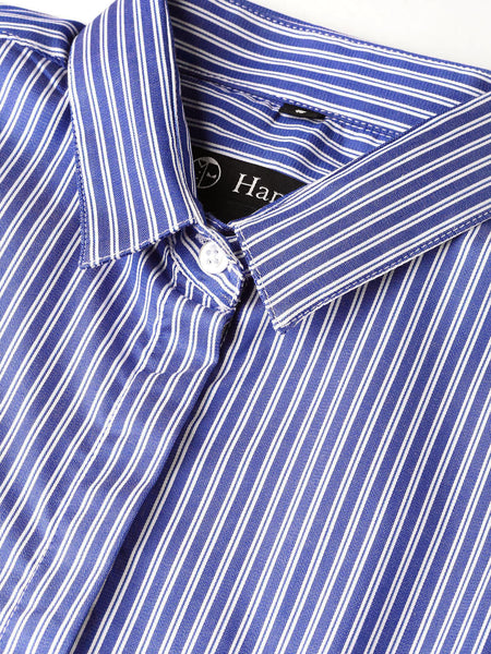 Hancock Women Blue Pure Cotton Striped Slim Fit Formal Shirt
