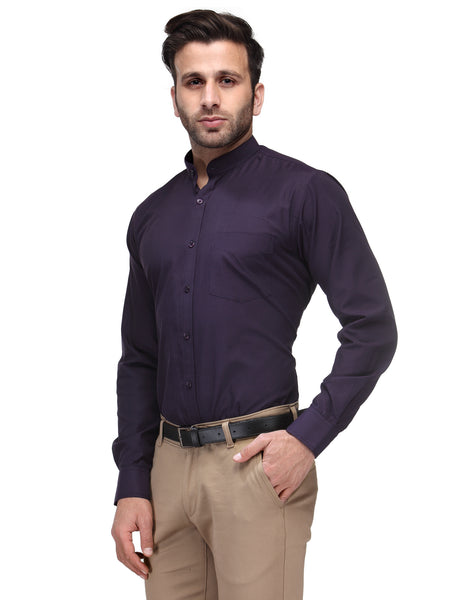 Hancock Wine Slim Fit Solid Chinese Collar Plain Cotton Rich Shirt