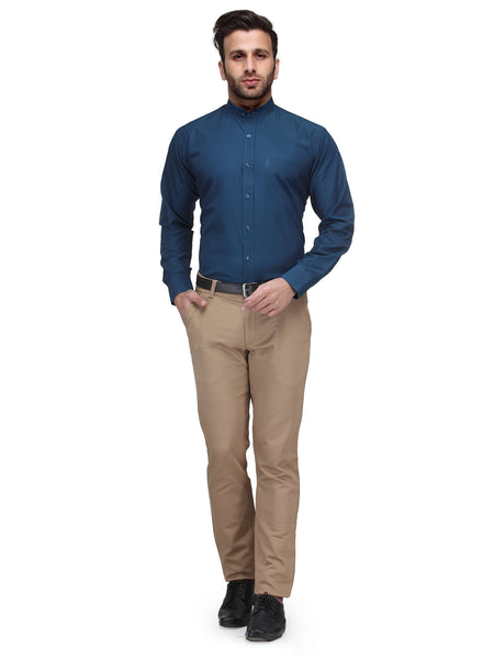 Hancock Turquoise Blue Slim Fit Solid Chinese Collar Plain Cotton Rich Formal Shirt