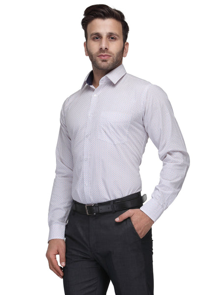 Hancock White and Red Slim Fit Print Pure Cotton Shirt