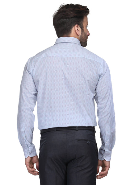Hancock White and Blue Slim Fit Print Pure Cotton Shirt