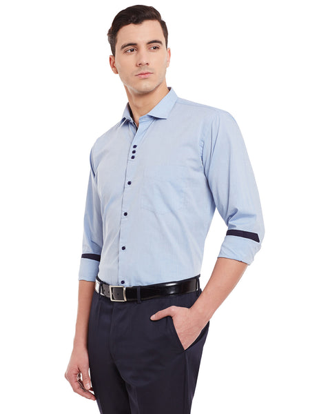 Hancock Blue Solid Pure Cotton Slim Fit Formal Shirt