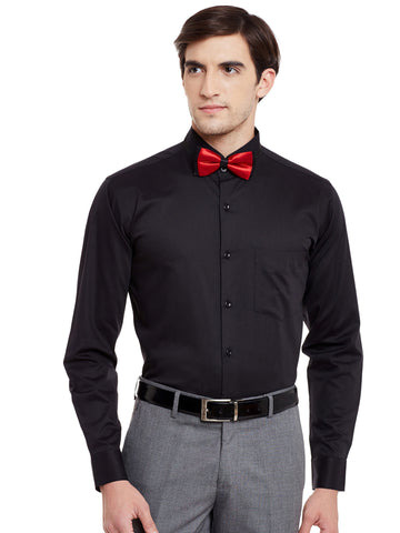 Hancock Black Solid Pure Cotton Bow Collar Slim Fit Formal Shirt