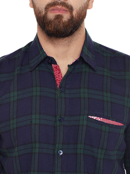 Hancock Navy Checked Pure Cotton Slim Fit Casual shirt