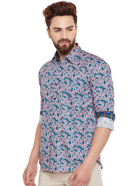 Hancock Green Printed Pure Cotton Slim Fit Casual Shirt