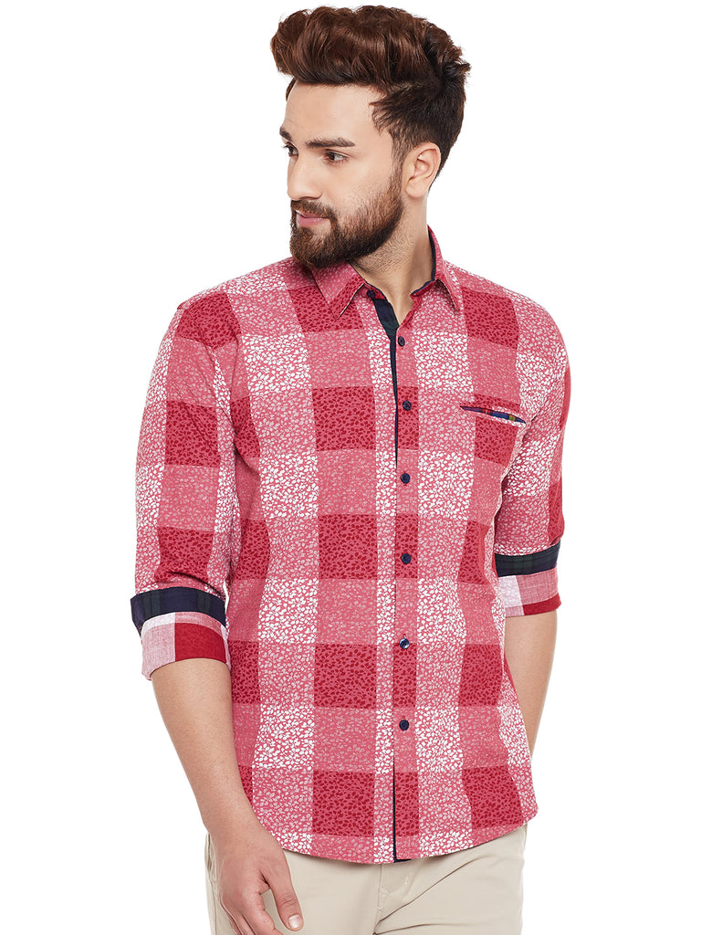Hancock Pink Printed Pure Cotton Slim Fit Casual Shirt