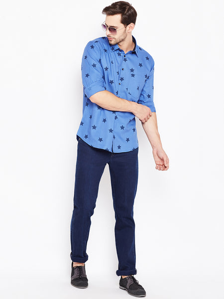 Hancock Blue Printed Pure Cotton Slim Fit Casual Shirt