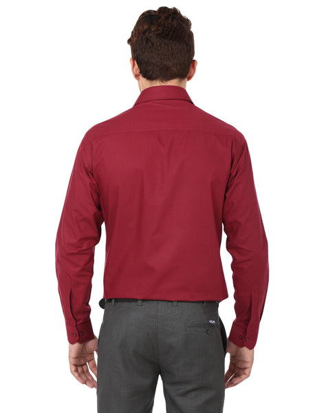 Hancock Maroon Slim Fit Solid Cotton Rich Formal Shirt