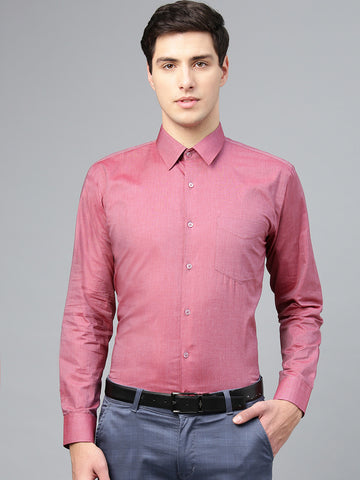 Hancock Men Red Pure Cotton Solid Slim Fit Formal Shirt