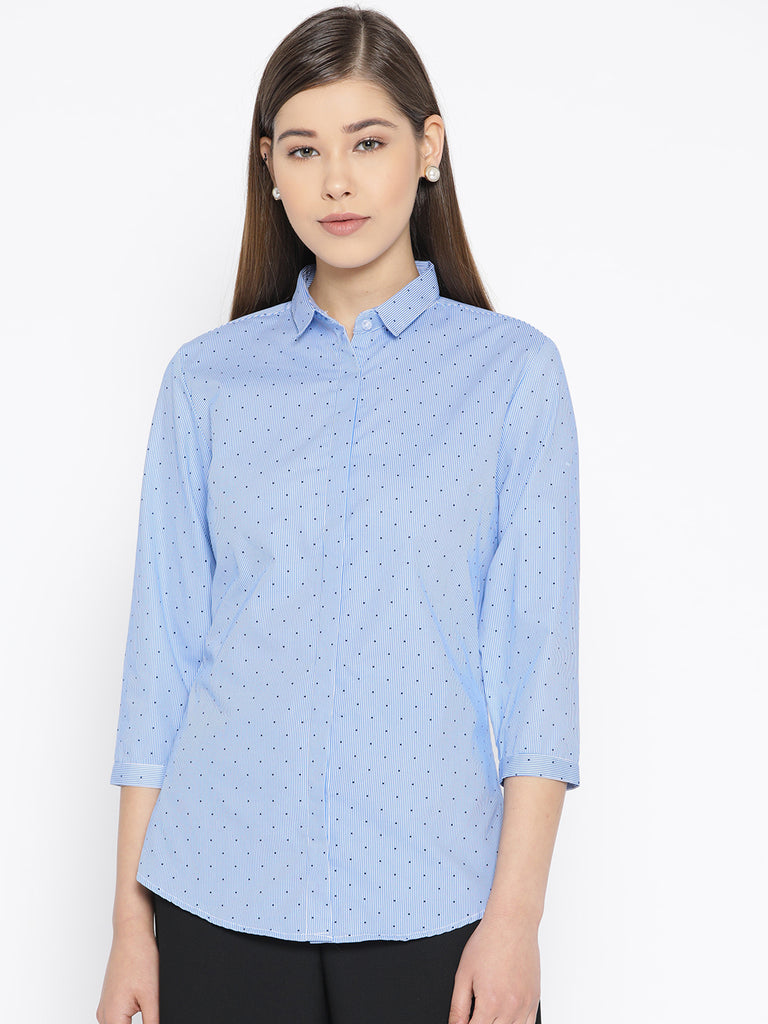 Hancock Women Blue Pure Cotton Printed Slim Fit Formal Shirt