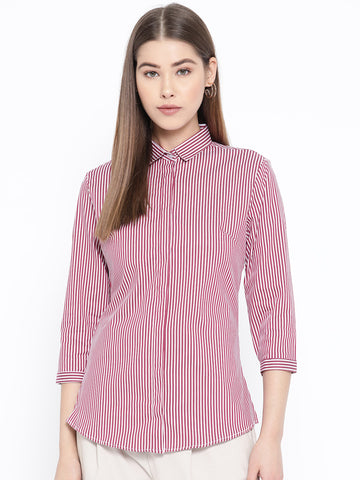 Hancock Women Red & white Pure Cotton Striped Slim Fit Formal Shirt