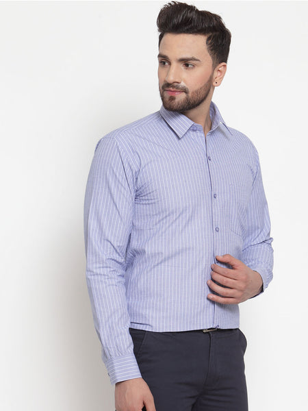 Hancock Men Blue Pure Cotton Striped Slim Fit Formal Shirt