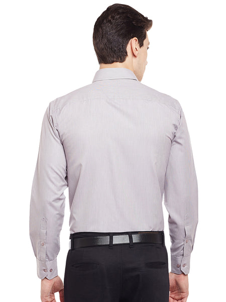 Hancock Brown Solid Slim Fit Cotton Rich Formal Shirt
