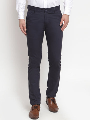 Hancock Men Navy Pure Cotton Solid Slim Fit Casual Trouser