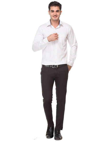 Hancock White Slim Fit Print Satin Pure Cotton Shirt