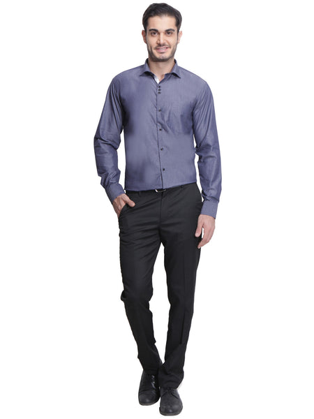 Hancock Grey Slim Fit Solid Chambray Pure Cotton Formal Shirt