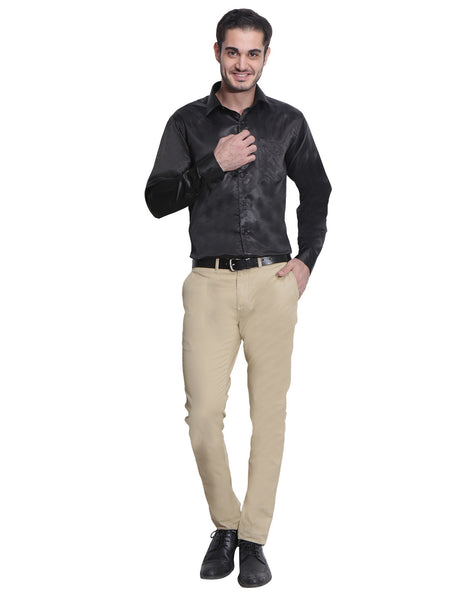 Hancock Black Slim Fit Solid Polyester Formal Shirt