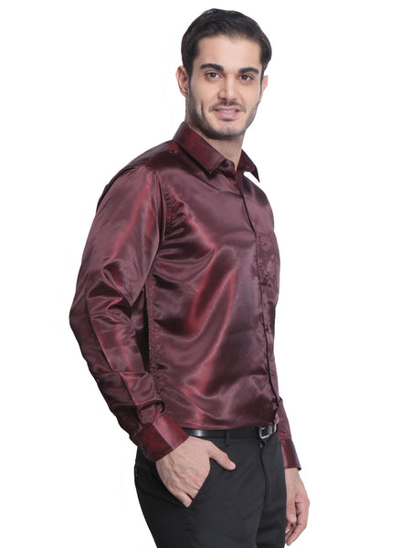 Hancock Maroon Slim Fit Solid Polyester Formal Shirt