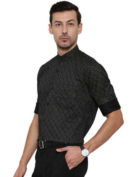 Hancock Black Printed Pure Cotton Slim Fit Shirt
