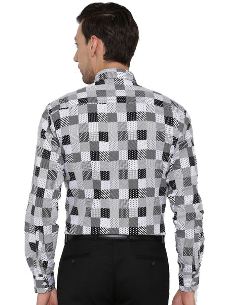 Hancock White and Black Printed Pure Cotton Slim Fit Shirt