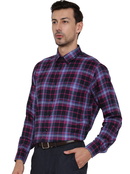 Hancock Navy and Purple Checks Pure Cotton Slim Fit Shirt