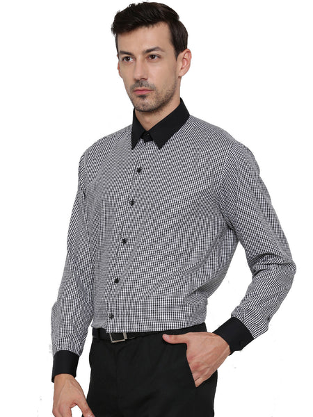 Hancock Black and White Shepherd Pure Cotton Slim Fit Shirt
