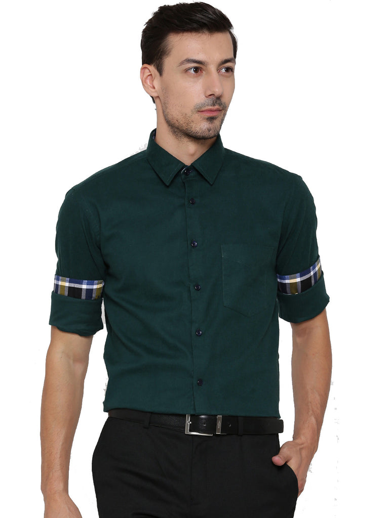 Hancock Green Solid Pure Cotton Slim Fit Formal Shirt