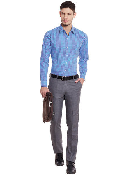Hancock Blue and Turquoise Checks Cotton Slim Fit Shirt
