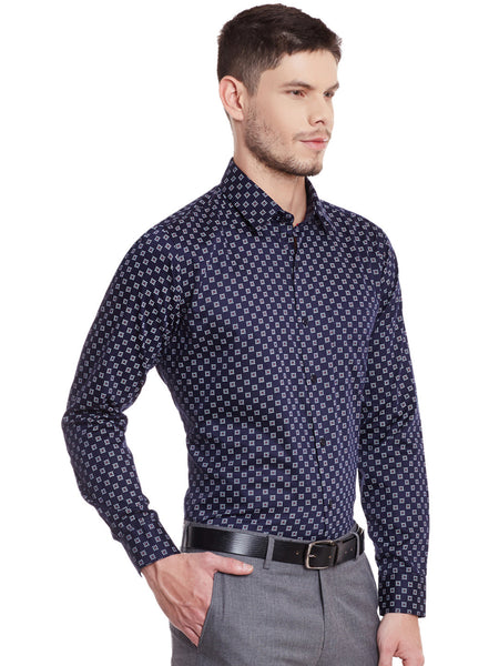 Hancock Navy Printed Pure Cotton Slim Fit Shirt