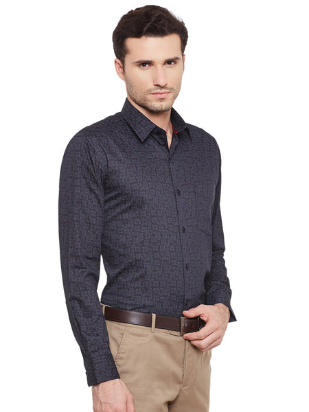Hancock Black Printed Cotton Slim Fit Shirt