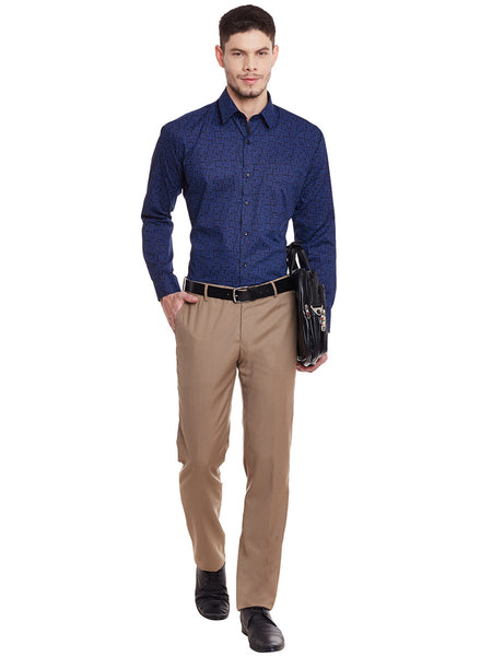 Hancock Navy Printed Cotton Slim Fit Shirt