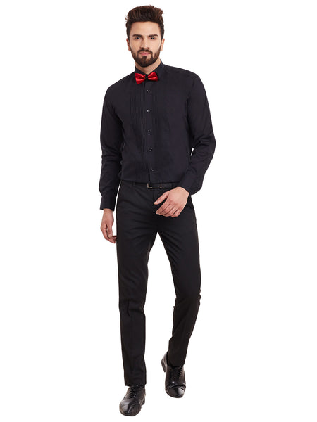 Hancock Black Solid Pure Cotton Slim Fit Formal Shirt