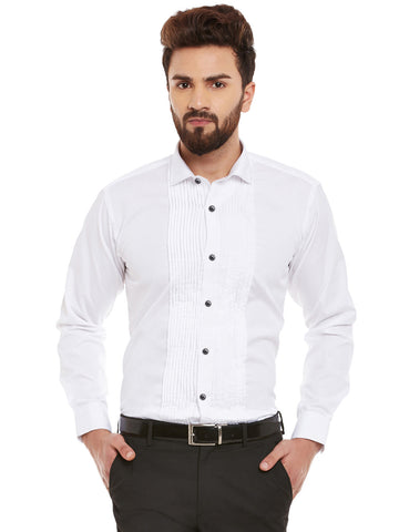 Hancock White Solid Pure Cotton Slim Fit Formal Shirt