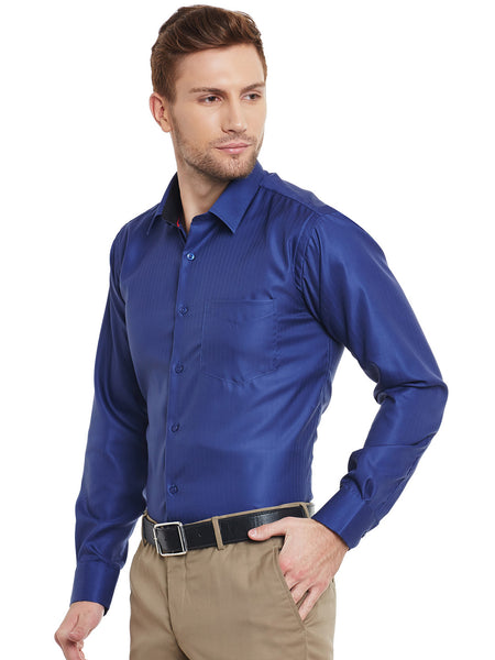 Hancock Navy Blue Solid  Pure  Cotton Slim Fit Formal Shirt