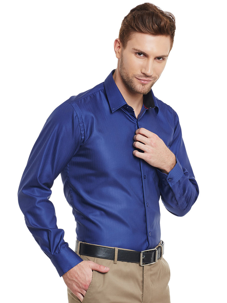 5b7555715e ... Hancock Navy Blue Solid Pure Cotton Slim Fit Formal Shirt ...