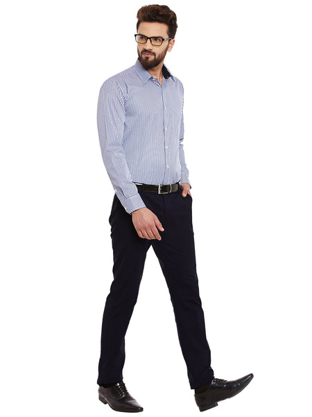 Hancock White and Blue Stripes Slim Fit Formal Shirt